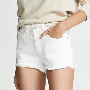 Levi's 501 Button Fly High Waist Shorts White 27